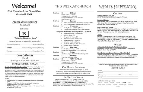 bulletin layout template best photos of church bulletin templates sle church
