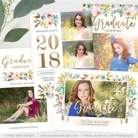 graduation announcement templates the bloom collection