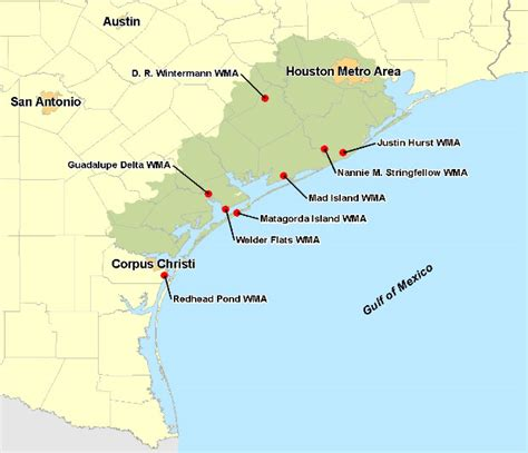 texas coastal cities map the central coast of texas highlighted in green click on image to images frompo