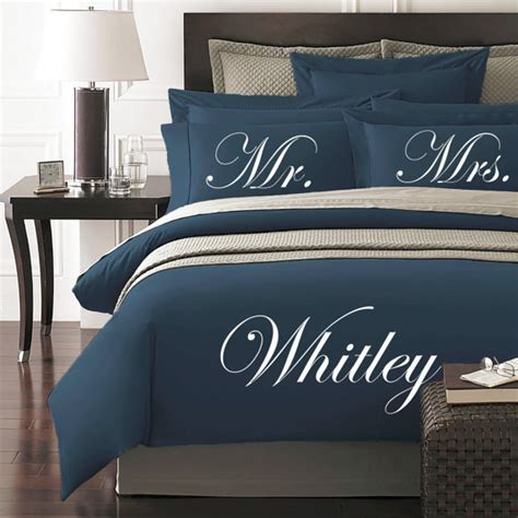 mr and mrs bedding mr and mrs personalized duvet cover and shams