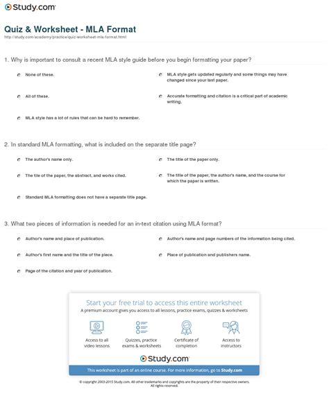 mla format essay questions quiz worksheet mla format study com