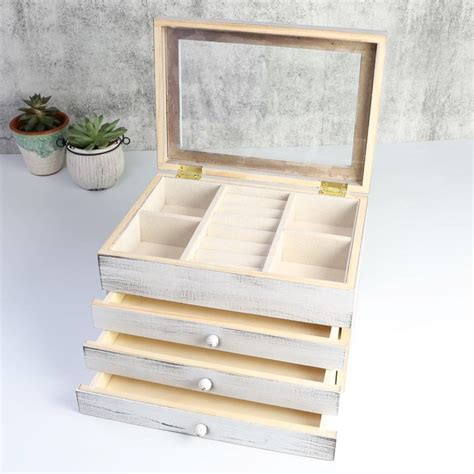Wooden Jewellery Drawers by Wooden Three Drawer Jewellery Box By Homeware