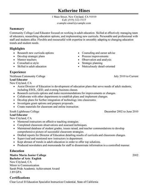 Lead Resume by Best Lead Educator Resume Exle Livecareer