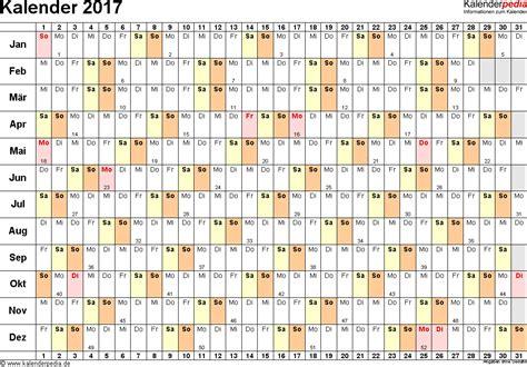 Kalender 2017 Tage Kalender 2017 Zum Ausdrucken In Excel 16 Vorlagen
