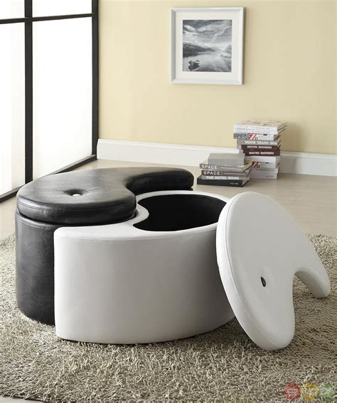 Ying Yang Storage Ottoman Yin Yang Button Tufted Accent Contemporary Storage Ottoman