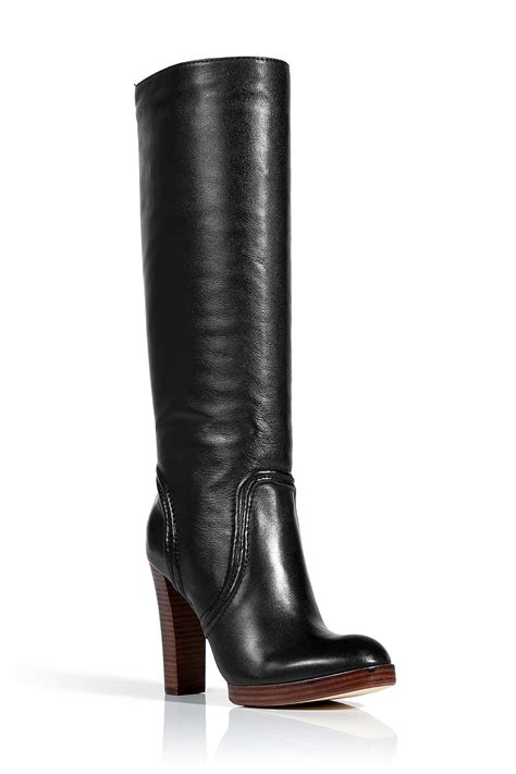 michael kors boots kors by michael kors black leather stacked heel boots in