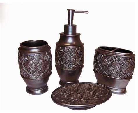 Kasbar Bronze Bath Accessory 4 Piece Set Contemporary Bathroom Accessories Bronze