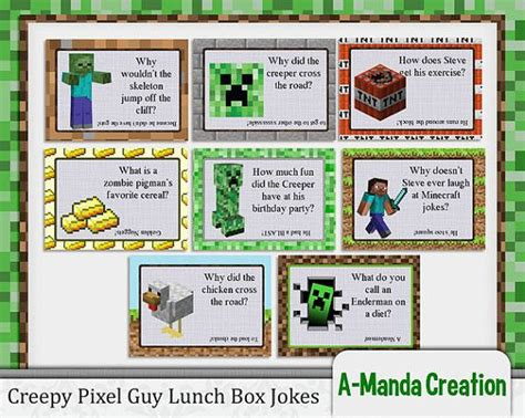 printable minecraft jokes creepy pixel guy lunch box jokes minecraft inspired lunch