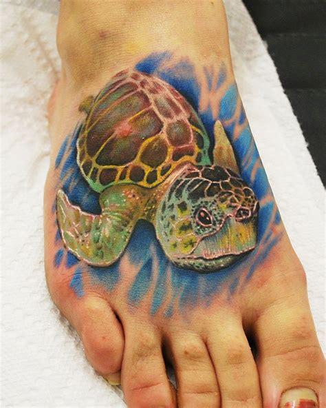 tattoo iowa city loggerback sea turtle on foot by joshua hansen