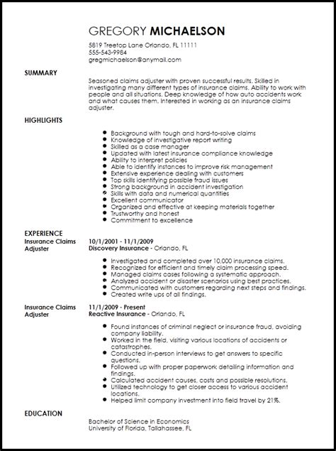 Claims Adjuster Resume by Free Professional Insurance Claims Adjuster Resume