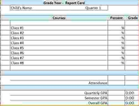 blank report card templates