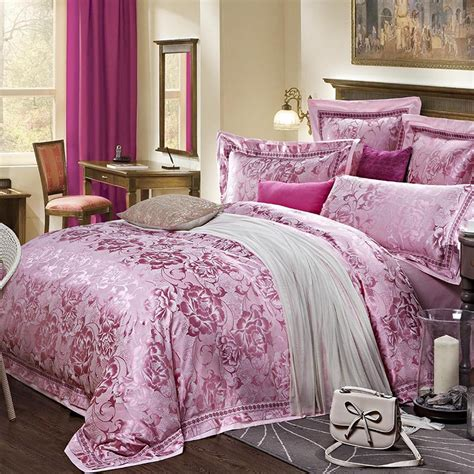 quality jacquard satin luxury purple pink wedding bedding