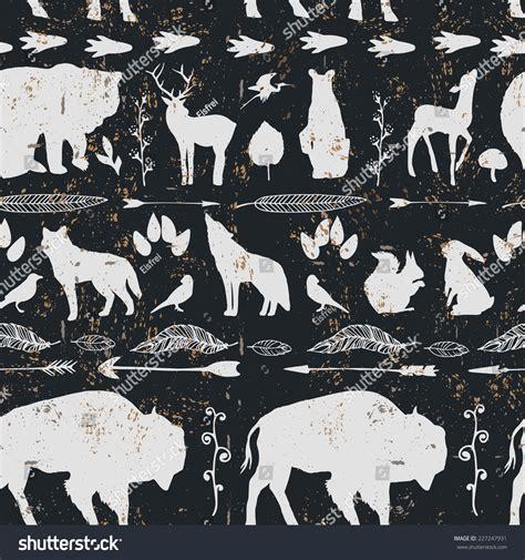 wolf pattern stock wild west animals pattern seamless hand stock vector