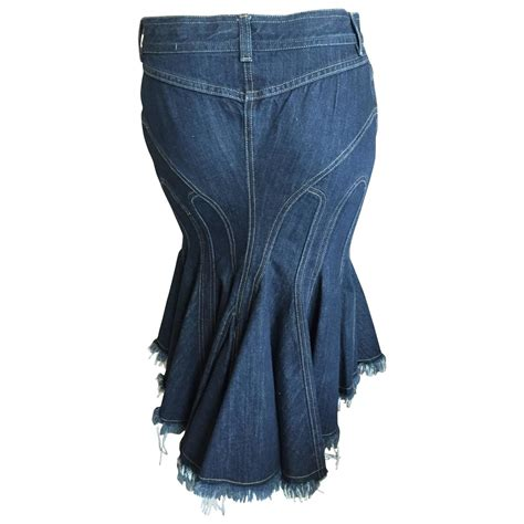 mcqueen amazing vintage sculpted denim skirt w