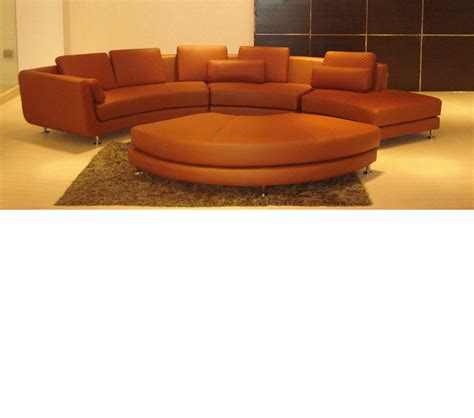 Leather Sectional And Ottoman by Dreamfurniture Divani Casa A94 Brown