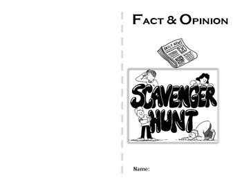 fact and opinion picture books fact and opinion scavenger hunt mini book by
