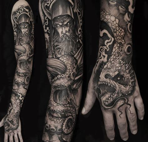 warrior tattoo sleeve designs viking warrior and sea creature sleeve inkedcollector