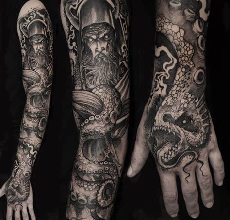 Viking Warrior and Sea Creature Sleeve Tattoo   InkedCollector