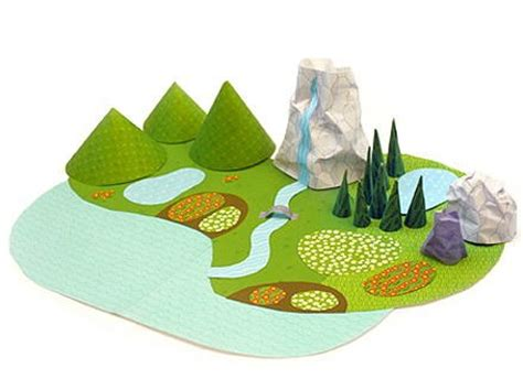 printable paper diorama mountains and meadows paper diorama allfreepapercrafts com