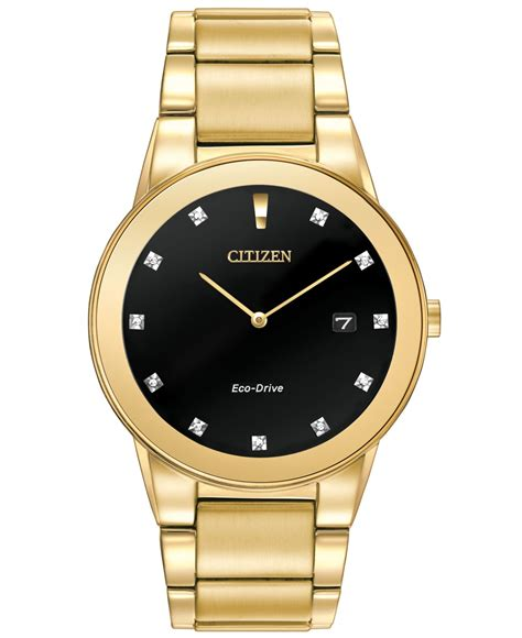 citizen s eco drive axiom accent gold tone