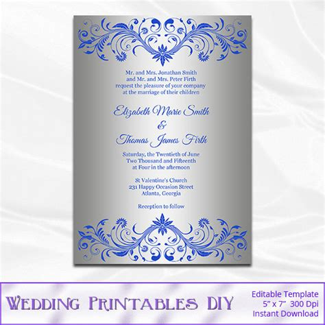 Royal Blue And Silver Wedding Invitation Template Diy Silver Editable Wedding Invitation Templates Free