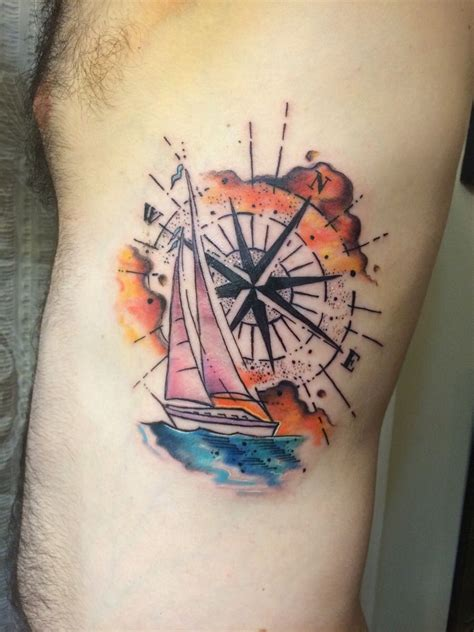 sailboat tattoo designs watercolor compass and sailboat chip harbin safehouse
