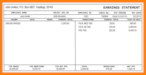 7 salary pay stub template technician salary slip