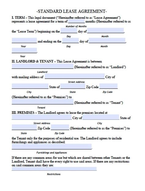 renting lease template printable sle residential lease agreement template form