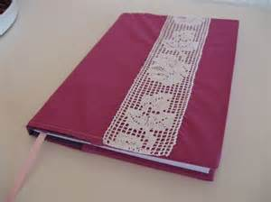 Handmade Book Designs - handmade fabric book cover with vintage lace book covers