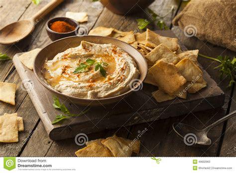 freshfromevaskitchen homemade pita chips with olive healthy homemade creamy hummus stock image image 49602963