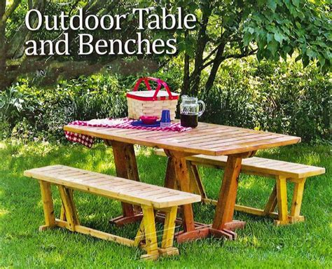outdoor table and bench plans outdoor table and benches woodarchivist