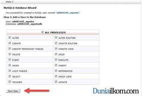 cara membuat hak akses user di php memilih hak akses user mysql di cpanel duniailkom