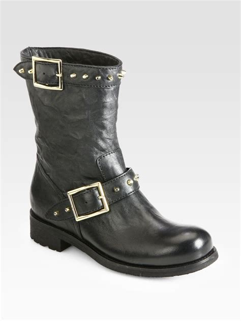 leather biker boots jimmy choo dash studded leather biker boots in black lyst