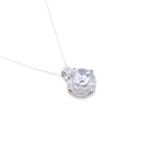 Cz Sterling Silver Pendant sterling silver simple cz pendant necklace sstp00853