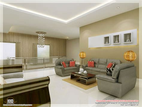 Living Room Interior by Awesome 3d Interior Renderings Kerala Home Design And