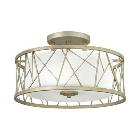 Light Fittings For Low Ceilings Semi Flush Ceiling Light With Silver Leaf Drum Shade And Glass Inner