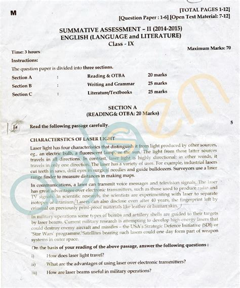 pattern of cbse english question paper cbse class 09 sa2 question papers english aglasem schools