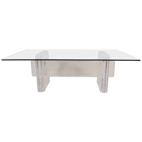 Lucite Base Coffee Table Attributed To Karl Springer For Lucite Coffee Table Base