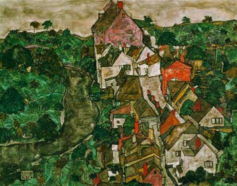 Landscape At Krumau Egon Schiele As Art Print Or Hand