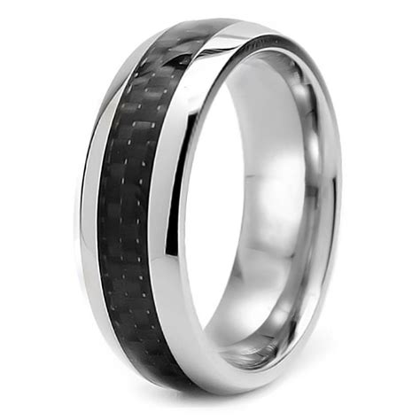 Dkny Fiber Gold Steel domed stainless steel carbon fiber inlay band wedding ring