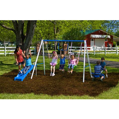 metal outdoor swing sets flexible flyer fun time metal swing set walmart com