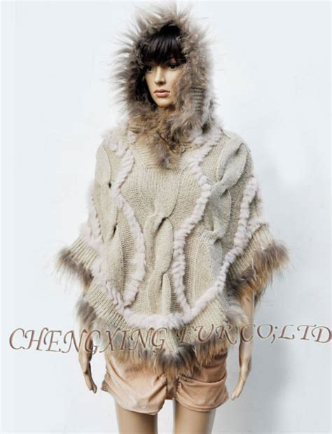 Rabbit Sweater Cc cx b 104a rabbit knitted fur sweaters with raccoon