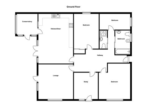House Floor Plans With Pictures Simple Four Bedroom Flat Bungalow Search Results Small