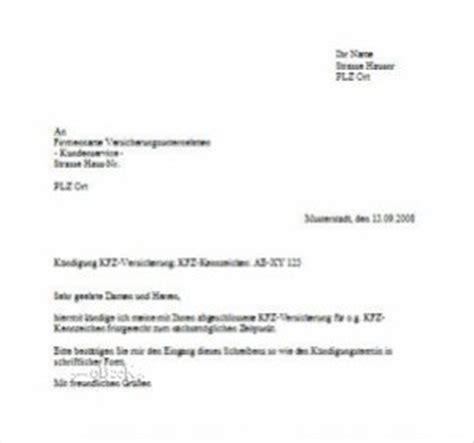 Muster Für Kündigung Kfz Versicherung Briefvorlage Zur K 252 Ndigung Der Kfz Versicherung
