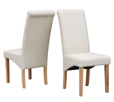 Cream Modern Dining Room Chair Faux Leather Roll Top Great Dining Room Chairs