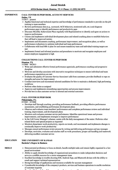 Call Center Supervisor Resume by Call Center Supervisor Resume Sles Velvet