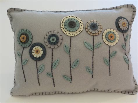 Handmade Felt Pillows - handmade rug pillow felt pillow appliqued with by