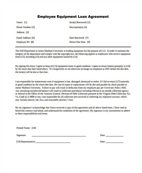 employee loan agreement template employee loan agreement template