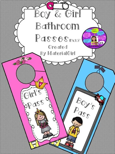 boys bathroom pass freebie free boy bathroom pass and girl bathroom pass