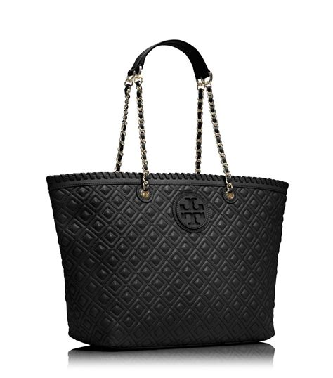 burch marion quilted small tote in black lyst